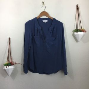 Milly blue pullover blouse with front pockets